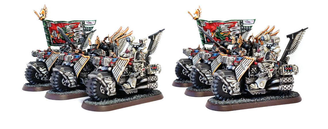 Deathhammer40k Warhammer 40,000 Commission Painted and Built Wargaming Miniatures Ravenwing Command Squad Miniature Gallery
