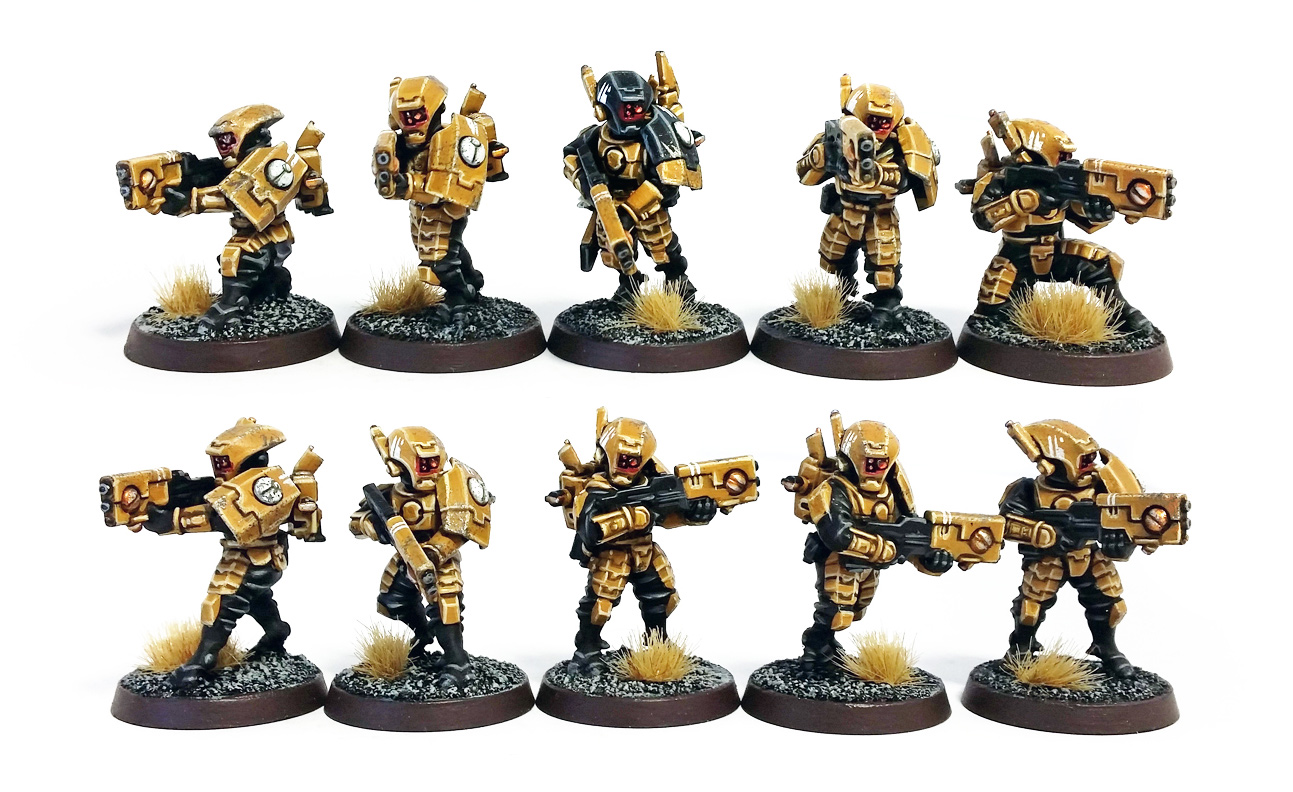 Deathhammer40k Warhammer 40,000 Commission Painting Wargaming Miniatures Tau Empire Breacher Team 3