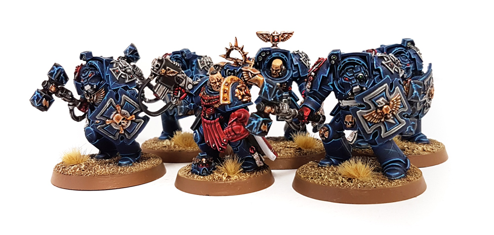 Deathhammer40k Warhammer 40,000 Commission Painted and Built Wargaming Miniatures Crimson Fists Assault Terminators and Captain 2
