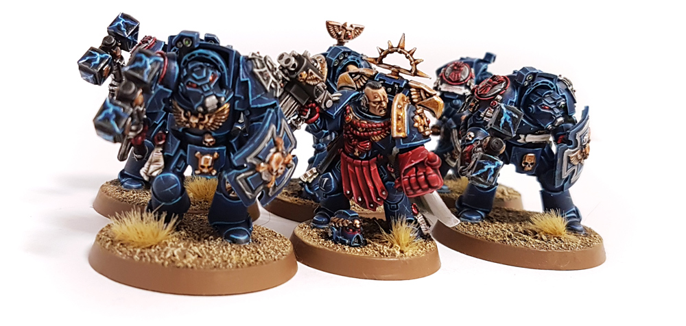 Deathhammer40k Warhammer 40,000 Commission Painted and Built Wargaming Miniatures Crimson Fists Assault Terminators and Captain