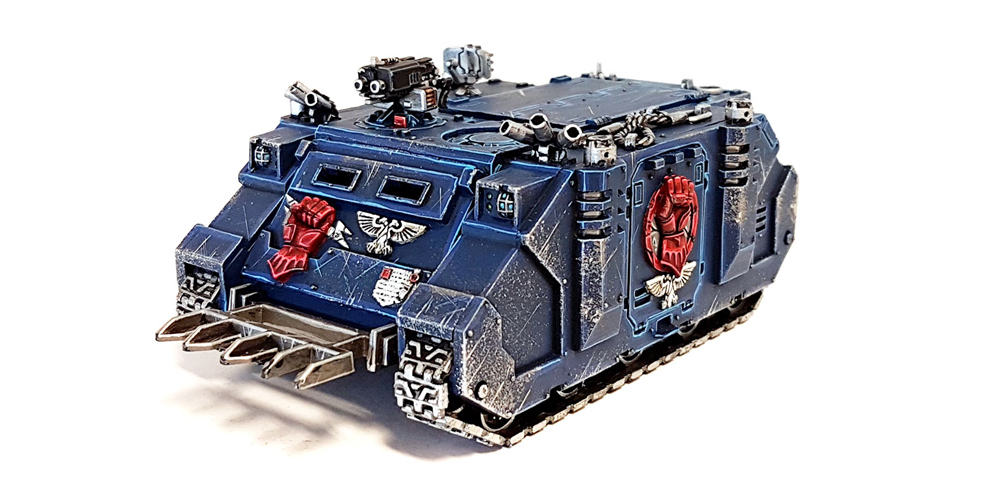 Deathhammer40k Warhammer 40,000 Commission Painted and Built Wargaming Miniatures Crimson Fists Rhino Transport 2
