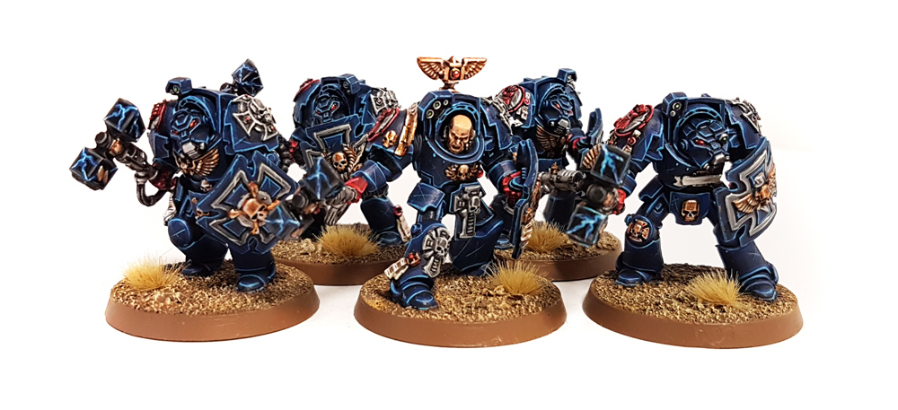 Deathhammer40k Warhammer 40,000 Commission Painted and Built Wargaming Miniatures Crimson Fists Terminators 1