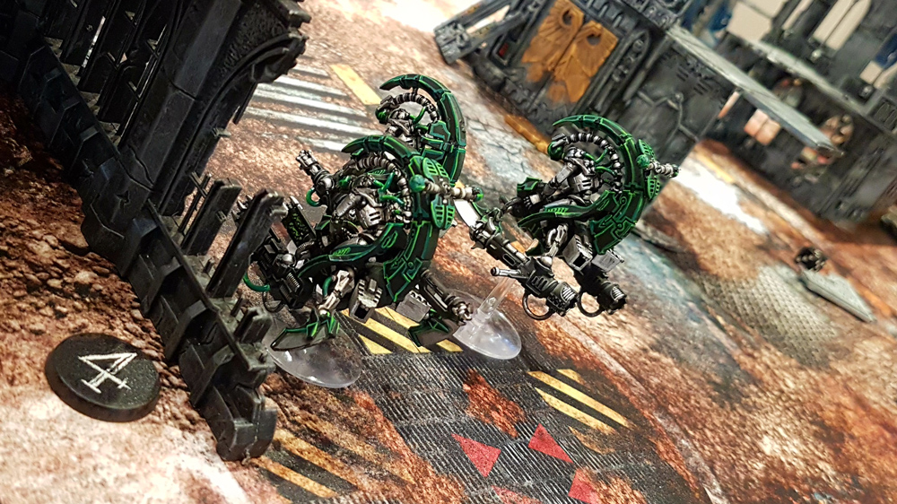 Deathhammer40k Warhammer 40,000 Commission Painted and Built Wargaming Miniatures PWork Wargames Industrial Ruins Battle Mat Necron Tomb Blades