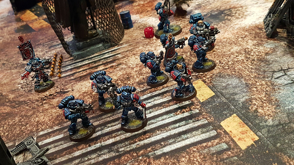 Deathhammer40k Warhammer 40,000 Commission Painted and Built Wargaming Miniatures PWork Wargames Industrial Ruins Battle Mat Crimson Fists Tactical Squad