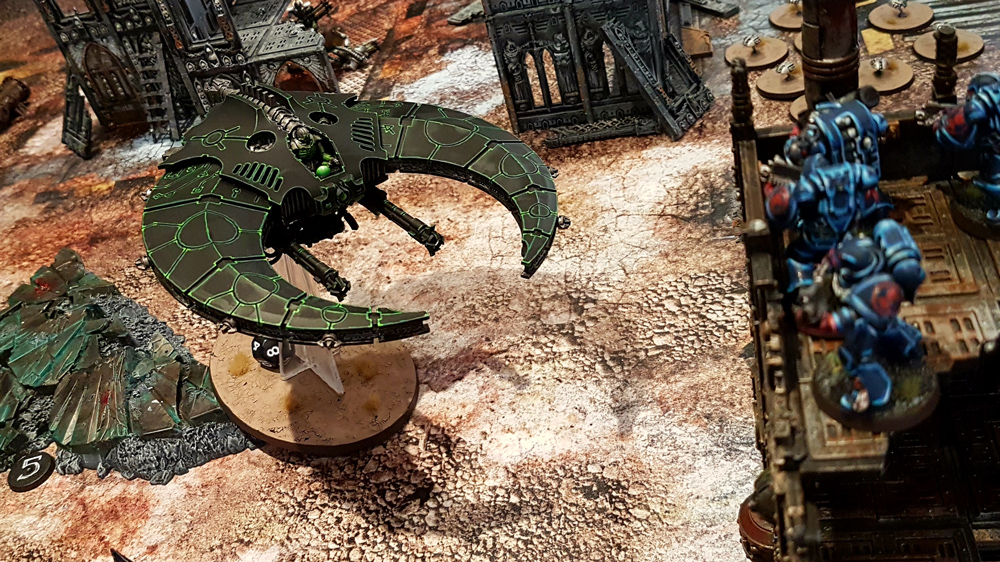 Deathhammer40k Warhammer 40,000 Commission Painted and Built Wargaming Miniatures PWork Wargames Industrial Ruins Battle Mat Necron Night Scythe